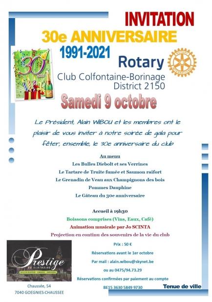 Informations sur la soirée de gala du 30e anniversaire